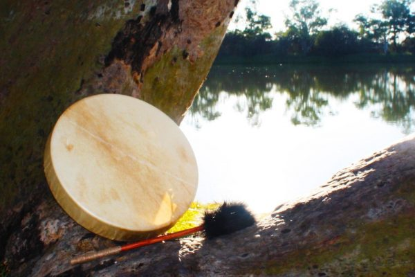Medicine Drum resting on tree in front of pond